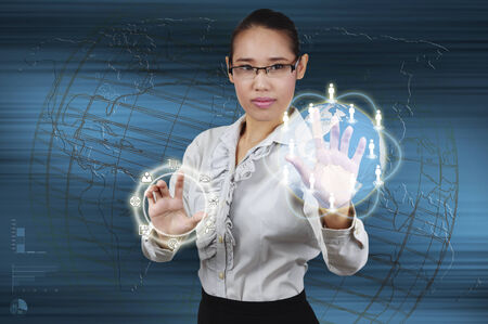 business woman touching virtual screen the business online concept. photo