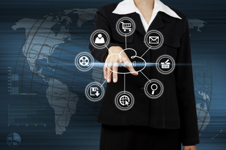 Business woman showing cloud computing. Concept of business model photo