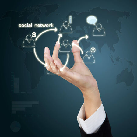 Business hand show concept social network concept on virtual screen photo