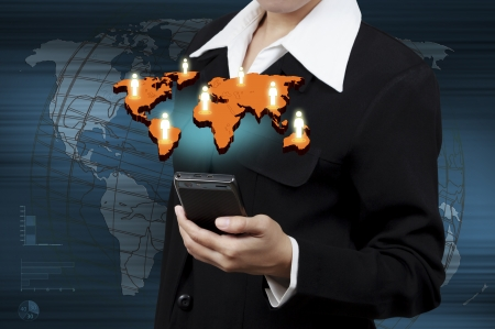 Concept of online transactions on the internet in business in hand.