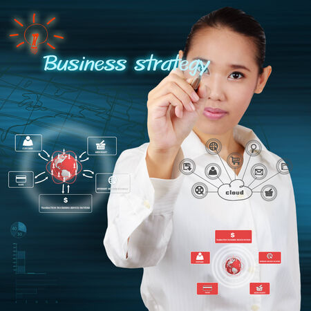 business woman write a business strategy on virtual screen.