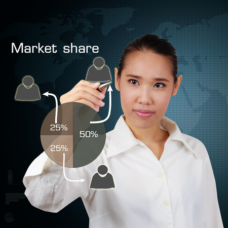 Business women writing market share concept on virtual screen. Stock Photo - 26321979