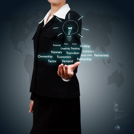 business woman showing business solution concept