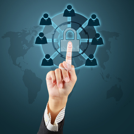 Touching a security key on virtual screen Stock Photo