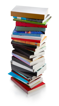 colorful books, big tower with clipping path Zdjęcie Seryjne - 122494491