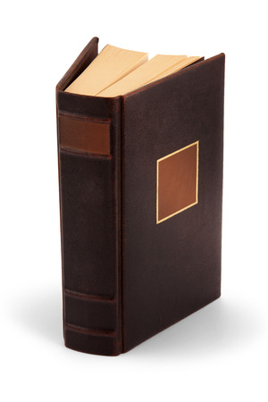 Hardcover book with gold foil, closed blank book with clipping path