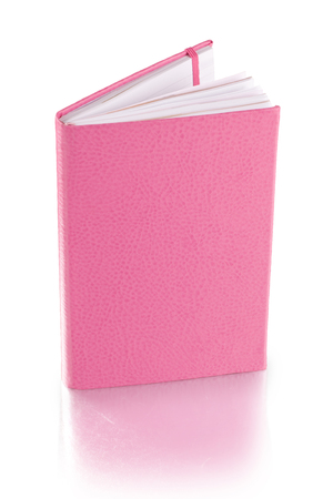 pink leather diary book - clipping path 스톡 콘텐츠
