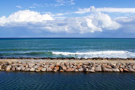 breakwater in the port of Sinop Turkey