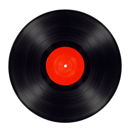 Old black vinyl record isolated with red label