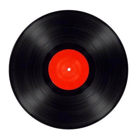 Vieux disque vinyle noir isolé avec étiquette rouge