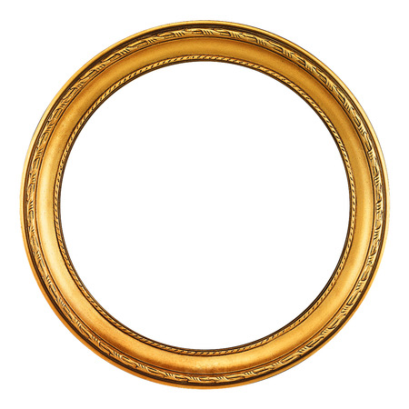 round antique empty picture frame with clipping path Imagens