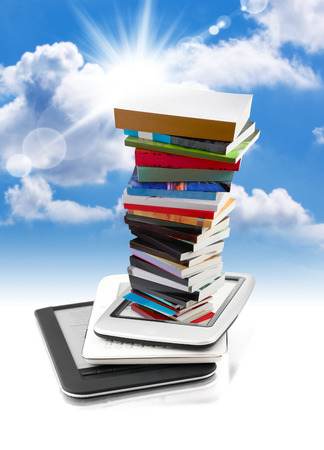 huge pile of books in e-book readers Stok Fotoğraf