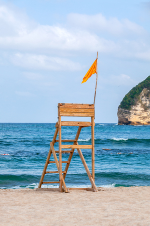 Lifeguard stand on deserted beach