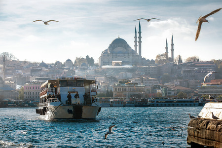 Golden Horn with Suleymaniye in Istanbul, Turkey Editorial