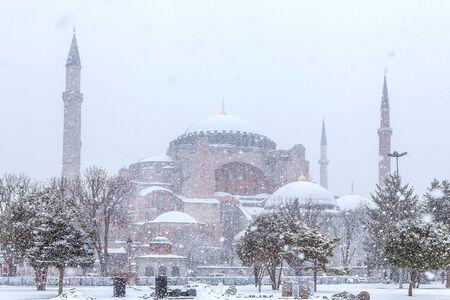 View of Hagia Sophia (Aya Sofya) in a snowy winter day in Istanbul Turkey