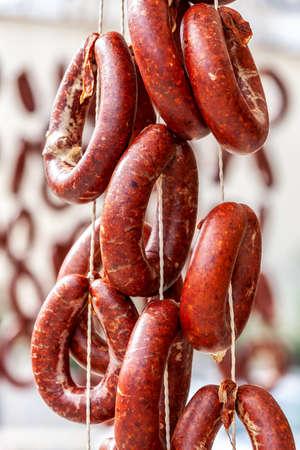 Drying homemade Turkish kangal sausage