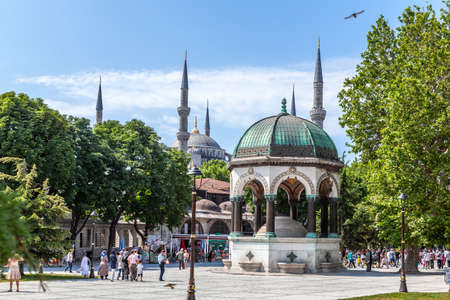 Istanbul, Turkey - 07.07.2011: German fountain, which is a gift from Wilhelm II in Sultanahmet Square, built in 1898.
