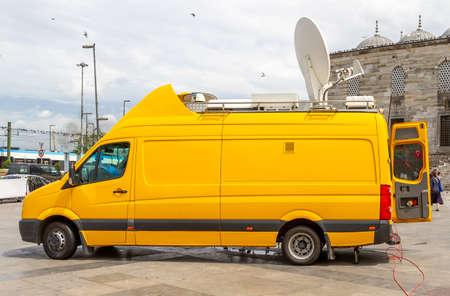 Istanbul, Turkey - 08/11/2011: Outside Broadcast vehicle, Eminonu Square, Istanbul - Turkey