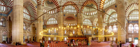 EDIRNE, TURKEY - 07,16,2011: Selimiye Mosque interior, panoramic view in Edirne, Turkey. Ottoman imperial mosque was designed by Mimar Sinan Éditoriale