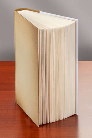 book standing upright on the table, whose pages appear to be.
