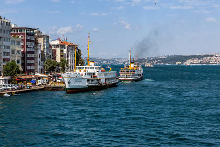 Istanbul, Turkey - 07.27.2012: Nice view of the historic district Karakoy Steamboat Pier
