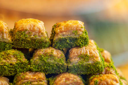 Assorted Flavors of Turkish baklava with pistachio and other Turkish sweets, Istanbul Province. Istanbul Turkey