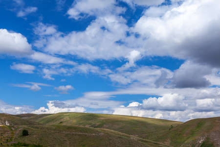 clouds and blue sky over the hills, Kose Gumushane - Turkey