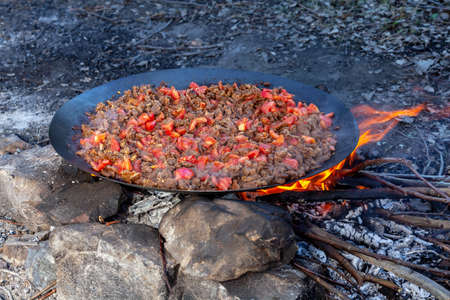 Traditional Turkish meal called 'Sac Kavurma'; meat is roasted on metal sheet over the fire with vegetables.