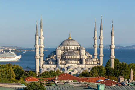 Istanbul, Turkey - 08.17.2012: Aerial View of the Historic Blue Mosque (Sultan Ahmet Camii), with domes and six minarets in Istanbul, Turkey