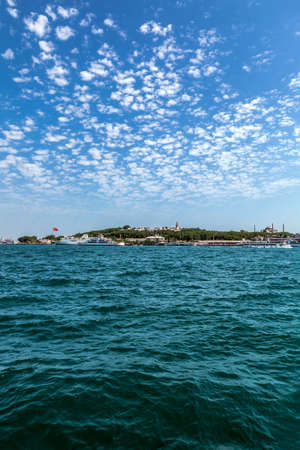 Perspective view of Istanbul, Sarayburnu from the sea. Sea and blue sky