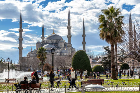 Istanbul, Turkey - 02.07.2013: Blue Mosque (Sultanahmet Mosque) and Park is historic district of Istanbul near the Blue Mosque and Hagia Sophia Mosque, it is a popular area among tourists.