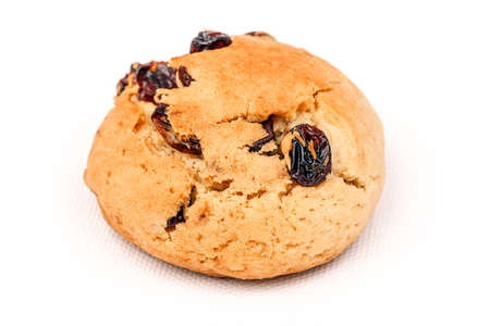 Plenty of raisin cookie on a white background, detailed view