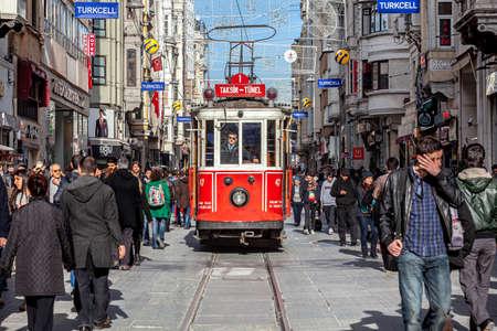 Istanbul, Turkey - 03.06.2013: Heritage trams of Istanbul; Taksim - Tunel Nostalgia Tramway line, operates on Istiklal Street between Taksim Square and Karakoy underground railway line. Istanbul Turkey