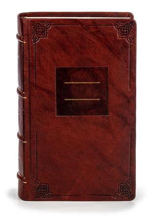 Leather notebook on white background with clipping path Banque d'images