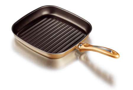 A square grill pan isolated on white with clipping path