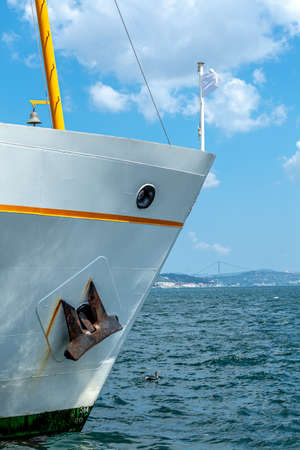 ferry in eminonu port istanbul, the starboard side