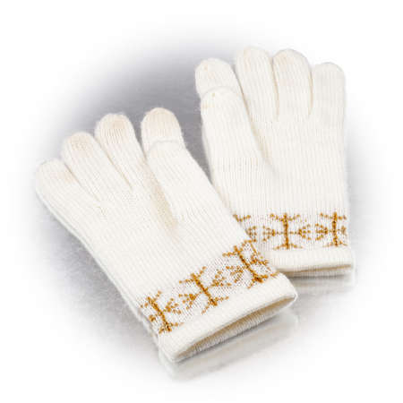 winter gloves on a white background Banque d'images