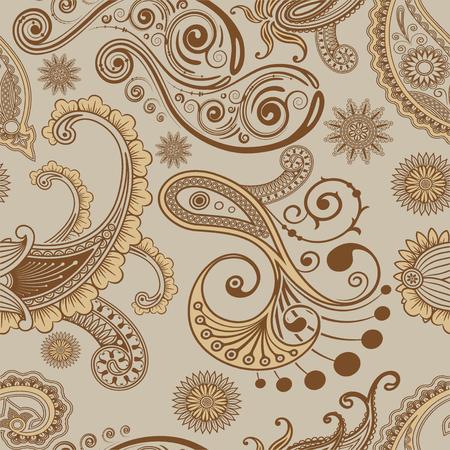 Seamless Pattern Paisley Style brown Фото со стока