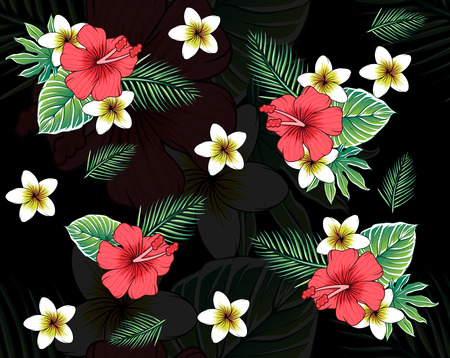 topical floral pattern black background Reklamní fotografie