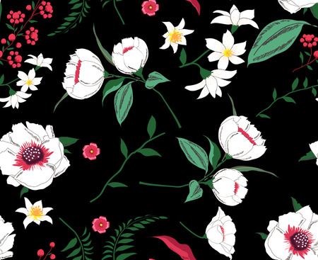 Trendy Floral Pattern Tropical Seamless black background