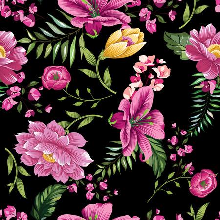 vintage flower pattern on black background