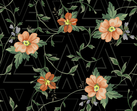 watercolor flowers ivy branches background