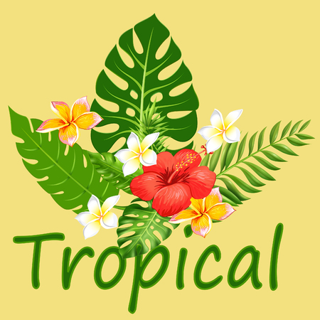 Tropical Flower text with leaves Illustration