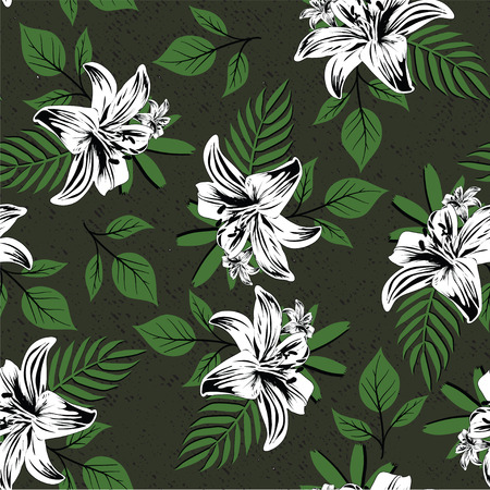 seamless flower branches with leaf pattern 矢量图像