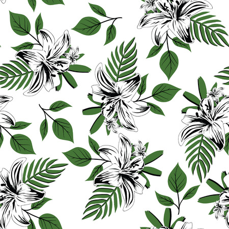 seamless flower branches with leaf pattern  イラスト・ベクター素材