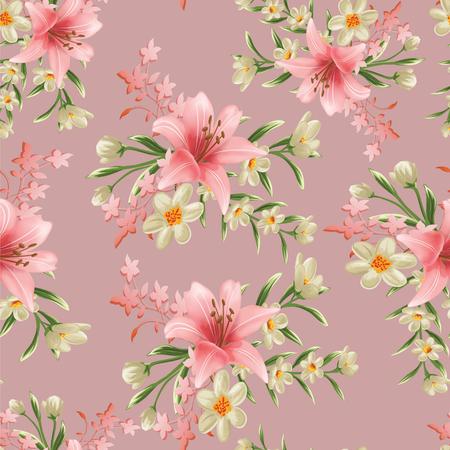 rami di fiori senza soluzione di continuità con motivo a foglie Archivio Fotografico