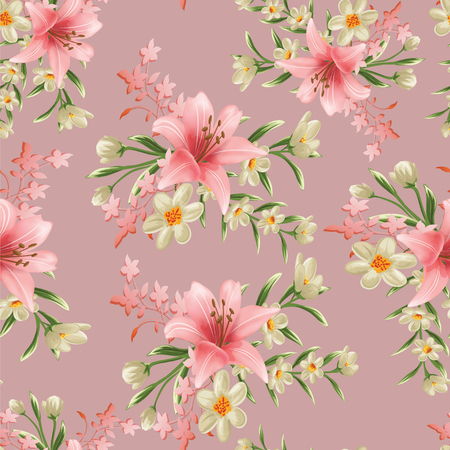 seamless flower branches with leaf pattern Stockfoto