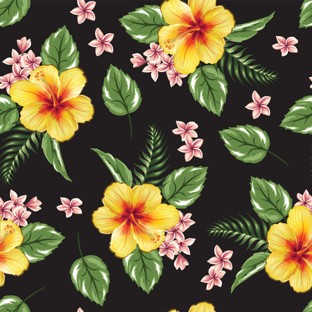 Seamless pattern hibiscus flower tropical floral design