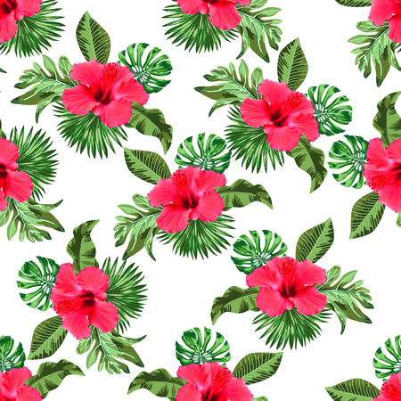 Naadloos bloemen- en bladerenpatroon