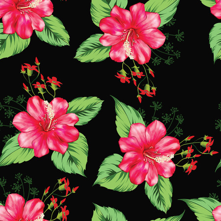 seamless flower with leaves pattern